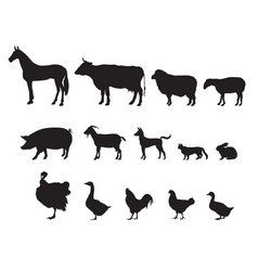 Farm animals silhouette icon set livestock vector
