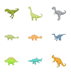 first dinosaur icons set cartoon style vector image