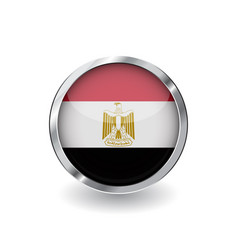 flag of egypt button with metal frame and shadow vector image