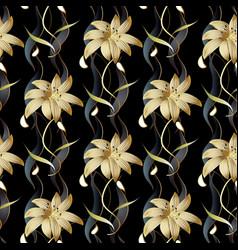 Floral luxury seamless pattern black vector