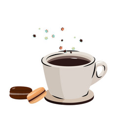 Flying macarons and black coffee vector