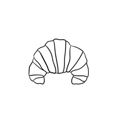 French croissant hand drawn sketch icon vector