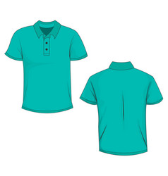 front and back view of turquoise polo t-shirt vector image
