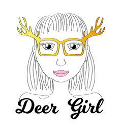 Girl in deer horn glasses boho style fashionista vector