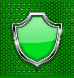 green shield sign accept 3d symbol on green vector image