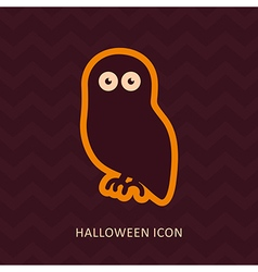 Halloween owl silhouette icon vector image