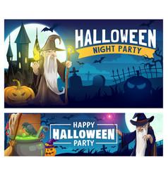 Halloween wizard pumpkins bats and graveyard vector