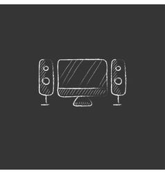 Home cinema system Drawn in chalk icon vector