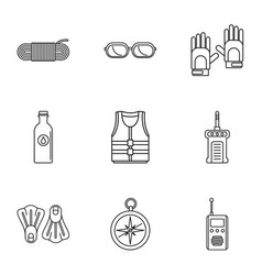 immersing icons set outline style vector image