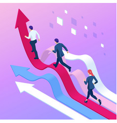 Isometric business people running towards the vector
