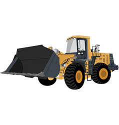 Isometric yellow bulldozer t vector