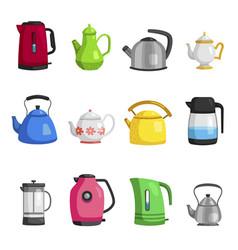 kettles teapots jugs pitchers carafe flat set vector image