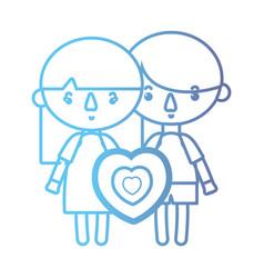 line children together with heart design vector image