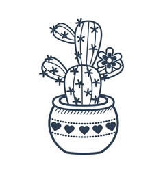 linear style icon of a potted fcactus vector image