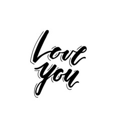 Love you lettering print vector