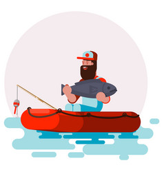 Man in boat with big fish in his hands vector