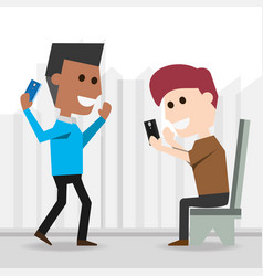 men with smartphone communication lifestyle vector image