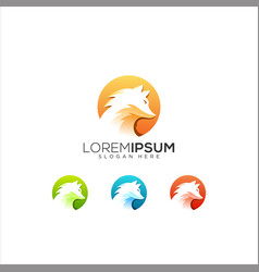 Modern gradient fox tail animal logo vector