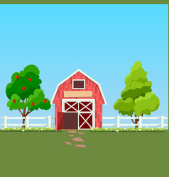 Old barn and green field vector