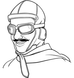 Old pilot line art vector