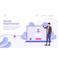 Online registration using a laptop computer vector