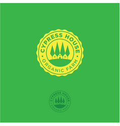 organic farm emblem cypress house logo vector image