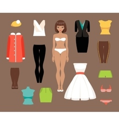 Paper doll and a set of clothes vector image