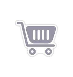 Paper sticker on white background cart vector