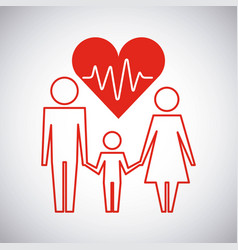 parents and son healthcare heart family protection vector image