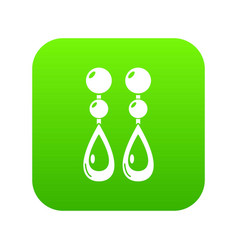 pearl earrings icon green vector image