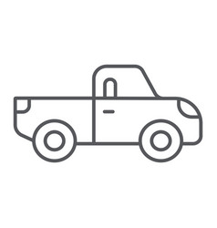 pickup thin line icon transport and automobile vector image