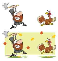 Pilgrim man chasing with axe a turkey vector