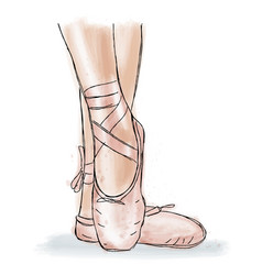 pink ballerina shoes ballet pointe shoes with vector image