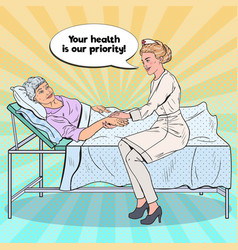 Pop art nurse holding hand of older woman vector