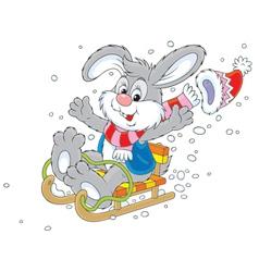 Rabbit sledding vector image