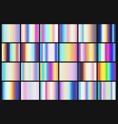 Rainbow metallic gradients with holographic colors vector