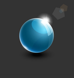 realistic blue glass ball 3d vector image