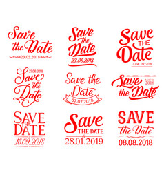 save the date lettering for wedding invitation vector image