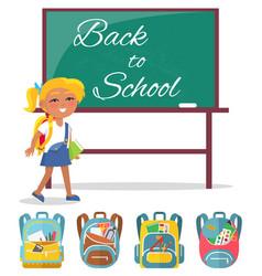 Schoolgirl stand near blackboard back to school vector