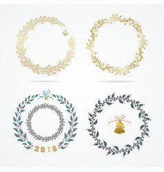 set laurel wreath design element for christmas vector image