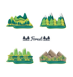 Set natural forest landscapes vector