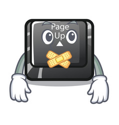 Silent button page up keyboard mascot vector