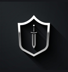 Silver medieval shield with sword icon isolated on vector