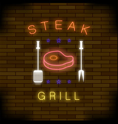 steak grill neon colorful sign vector image