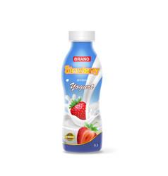 strawberry drinking yogurt packing plastic bottle vector image