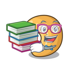 student with book roasted cashew nuts isolated on vector image
