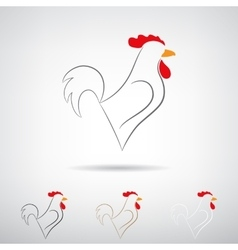 Stylized silhouette of a rooster vector image