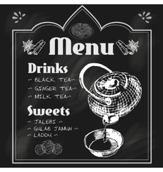 Teapot and teacup blackboard menu vector image