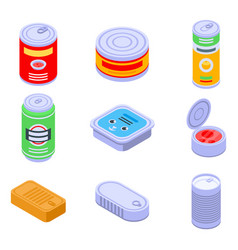 Tin can icons set isometric style vector