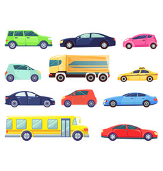 transport set bus and taxi automobile vehicles vector image